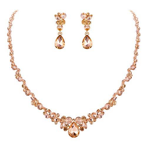 EVER FAITH Rhinestone Crystal Elegant Bridal Floral Teardrop Necklace Earrings Set Champagne Rose ()