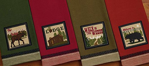 Design Imports A Walk in the Woods Table Linens, 18-Inch by 28-Inch Dishtowel, Lodge Embellished by Design Imports (Image #1)