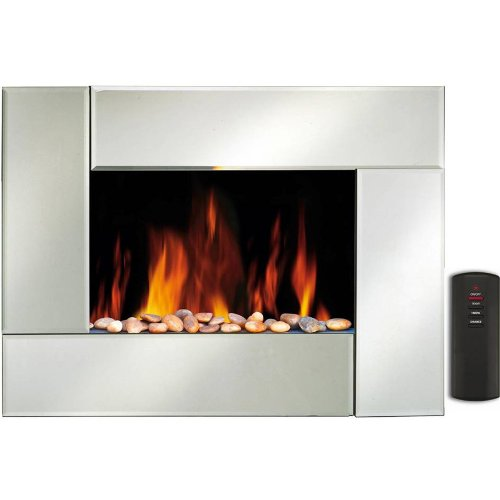 wall mounted electric fire fireplace mirror effect plasma