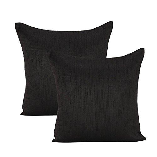 Black Euro Sham (Set of 2 Covers, Faux Raw Silk, Black, 26x26 inches)