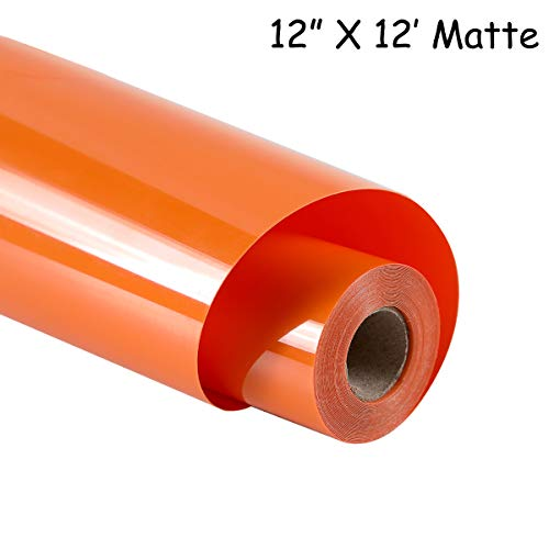 guangyintong Heat Transfer Vinyl Roll for T-Shirts 12 Inch by 12 Feet No Adhesive Matte (Orange A7)