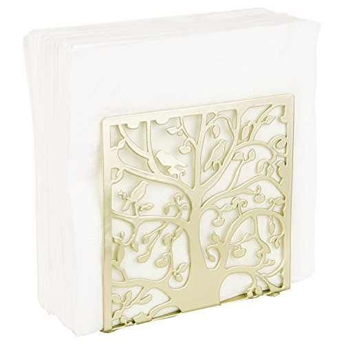 Brass-Tone Metal Tree & Bird Design Tabletop Napkin Holder/Freestanding Tissue Dispenser