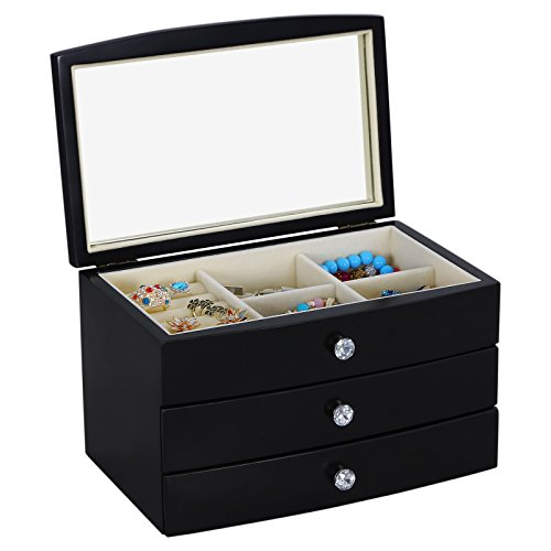 Songmics Wooden Jewelry Box Storage Organizer Case w Drawer Large