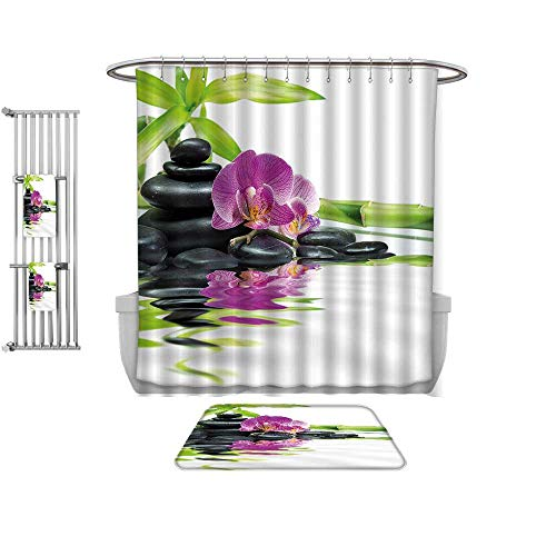 Home Set-Spa Decor Asian Relaxation with Zen Massage Stones Purple Orchid and a Bamboo Purple Black and Green, Bathroom Dedicated-Multiple Sizes