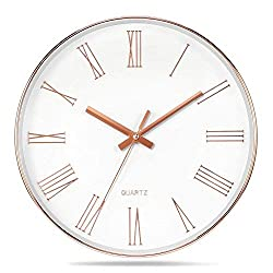 Vitaa 12 Inch Modern Wall Clock, Silent Non-Ticking Quartz Decorative Battery Operated Wall Clock for Living Room Home Office School Rose Gold Plastic Frame Glass Cover(Rose-Gold,Roman Numerals)