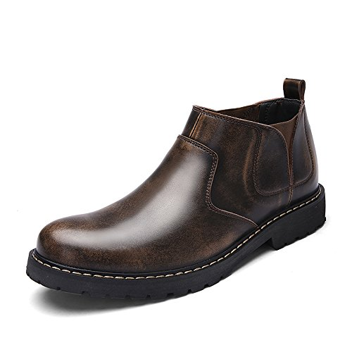 EnllerviiD Men Elastic Slip On Oxfords Dress Shoes Flat Faux Fur Crazy Horse Ankle Work Boots Brown OKeeueQeiU
