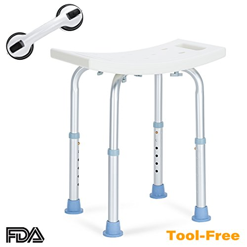 OasisSpace Shower Chair, Adjustable Bath Stool with Free Assist Grab Bar - Medical Tool Free Anti-Slip Bench Bathtub Stool Seat with Durable Aluminum Legs for Elderly, Senior, Handicap & - Portable Bathtub Bench Shower