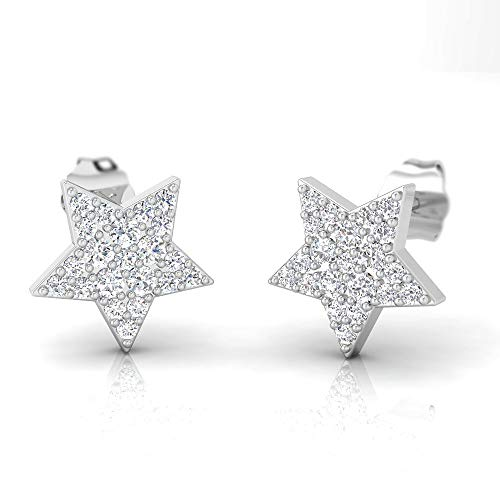 IGI Certified 1/2 Carat Natural Diamond Sterling Silver Star Shaped Stud Earrings for Women (I-J Color, I2-I3 Clarity)