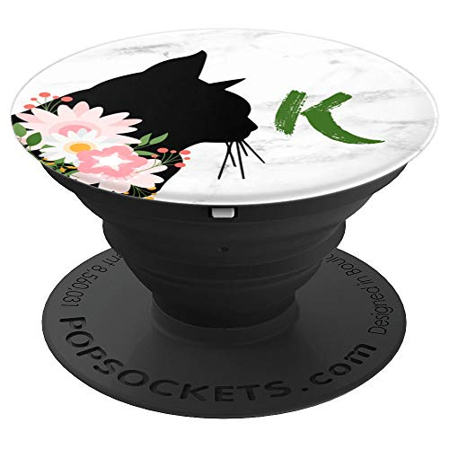 Initial Letter K Flowers Black Mom Cat Kitten White Marble - PopSockets Grip and Stand for Phones and -