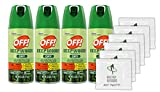 Off! Deep Woods Dry Aerosol Insect Repellent, 2.5 Ounce (4 Count) + (6) Bonus Wipes