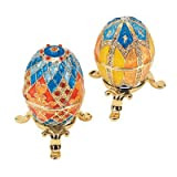 Design Toscano Grand Duchess 2-Piece Georgievna and Nikolaevna Enameled Egg Set