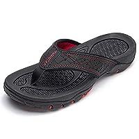 HOBIBEAR Mens Flip Flops Sport Thong Sandals Comfort for Outdoor Beach Shoes(Black-b Size 7.5)