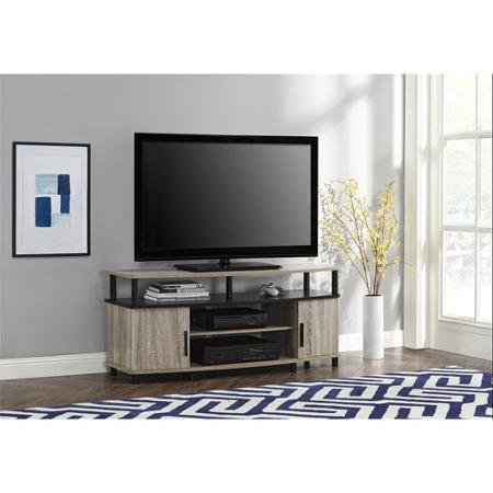 Premium Tv Stand for Flat Screens Wood Carson Console Furniture and Entertainment for 50 Inch (Sonoma Oak) (Tv Flat Screen 48 Inch)