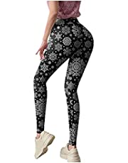 Womens Leggings Ugly Custom Christmas Snowflake Graphic Party Tights Skinny Butt Lifter Pants for Running Yoga