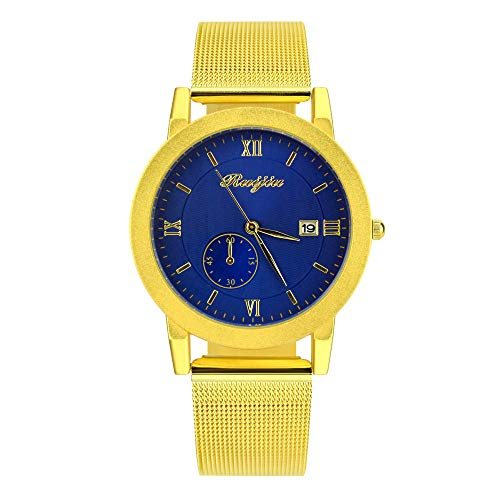 NXDA Classic wrist watch stainless steel mesh with gold strap watch quartz movement leisure calendar watch easy to read Roman numeral dial (Blue)