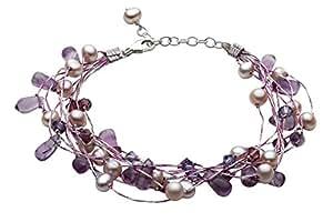 Dew - Pulsera de mujer de plata de ley con perlas, amatistas y piedras multicolor, 21 cm