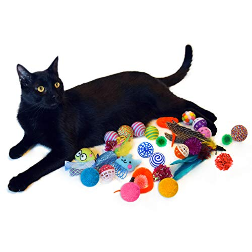 Cowfish Cat Toys Kitten Toys Assortments, 27PCS Variety Toy Set Including Cat Feather Teaser Wand, Feather Toys, Mice, Catnip Toys, Colorful Balls, Bells for Cat, Kitty, Kitten 8