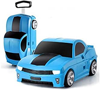 New Ride On Suitcase Toy Box Luggage Trolley Car Bag Box Case for Children Kids - Blue