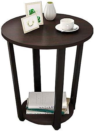 WGG Lado de la mesa Mesa de madera redonda de 2 niveles Sala de ...