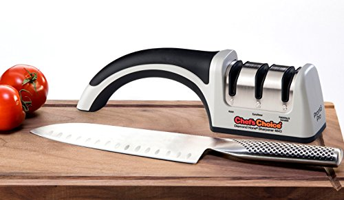 - Chef'sChoice 4643 ProntoPro Diamond Hone Manual Knife Sharpener Extremely Fast Sharpening Euro-American and Asian Style Knives Precise Bevel Angle Control Diamond Abrasive Made in USA, 3-Stage, Silver