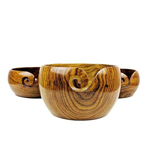 Premium Rosewood Crafted Wooden Portable Yarn Bowl | Knitting Bowls | Crochet Holder | Nagina International (Set Of 3) by Nagina International