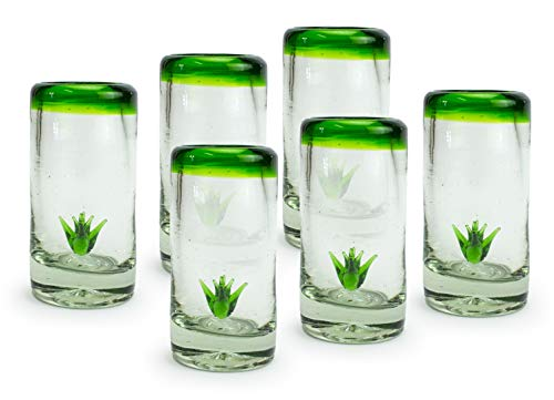 MEXART Artisan Crafted Hand Blown Glass Six Amigos Green Rim Maguey Design Collection Recycled Glass Shots Glasses. Vodka, Whisky, Tequila Maguey Shots, 2 oz. 'Classic' (Set of 6)