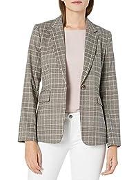 Tahari By ASL Womens One Button Plaid Flap Pocket Jacket Blazer