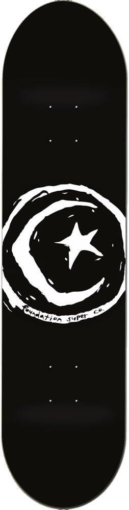 FOUNDATION(ファンデーション) スケートボード デッキ STAR & MOON 黒 D9049 (8 x 31.5)