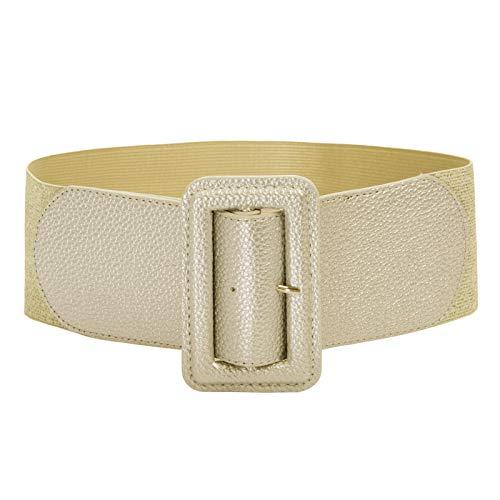 Womens Wide Elastic Waist Belt Cinch Belt Trimmer Stretch Waistband Size S Gold