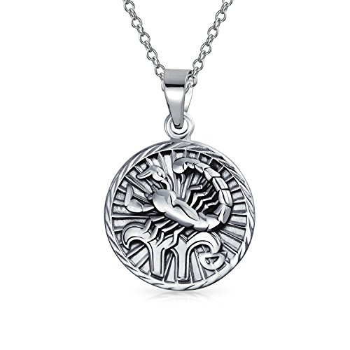 Bling Jewelry Large Scorpio Zodiac Medallion Pendant Sterling Silver Necklace 18 - Large Zodiac Pendant