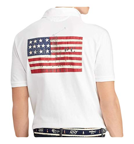 (RALPH LAUREN Polo Men's Classic Fit USA American Flag Cotton Mesh Rugby Shirt (White,)