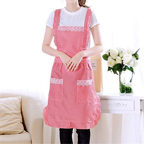 YXDZ (2 Pieces European Small Square Princess Apron Kitchen Cooking Korean Oil and Dirt Double Layer Sleeveless Waist Red