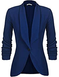Uni-Wert Women's Blazer Casual Business Lapel Stretchy Ruched 3/4 Sleeve Open Front Work Office Jacket