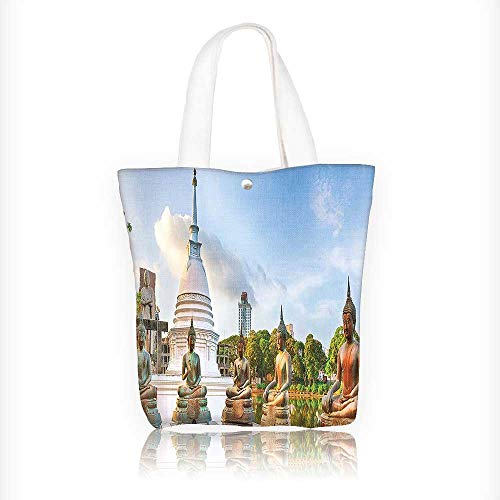 canvas tote bag Seema Malaka Temple On Beira Colombo Sri Lanka. Panorama Historic Clouds reusable canvas bag bulk for grocery,shopping W11xH11xD3 INCH