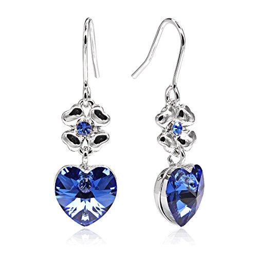 DANNICCI Platinum Plated Lucky Clover Dancing Heart Rhinestone Pierced Dangle Earrings