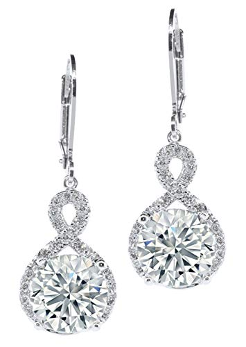 - Jade Marie FAITHFUL Silver Infinity Halo Drop Earrings, 18k White Gold Plated Round Cut Dangle Earrings with Cubic Zirconia Crystals, Beautiful Dangling Earrings
