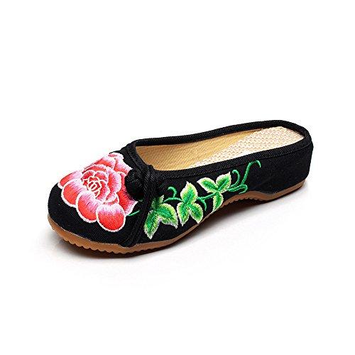 Chaussures Casual Noir Fanwer Pivoine Mignon Respirantes Pantoufles en La À Mode Été Ricamo Chaussures Rouge HxHBX6wqt