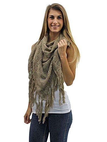 - Taupe Crochet Knit Shawl Wrap With Long Fringe
