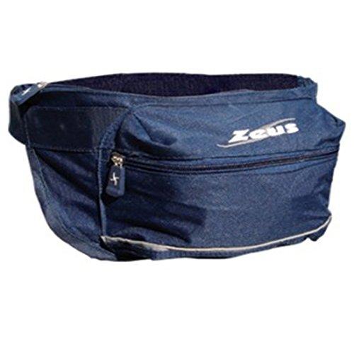 Zeus Herren Gürteltasche Schultertasche Handtasche Fußball Umhängetasche MARSUPIO TETEUNOS 16x8x14 cm (SCHWARZ) Blau