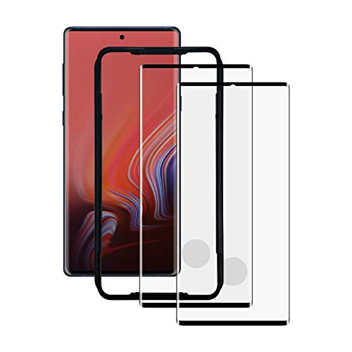 AACL Screen Protector for Samsung Galaxy Note 10 Plus,6.8 Inch,Curved Tempered Glass,Compatible with Ultrasonic Fingerprint Scanner,2 Pack,Black