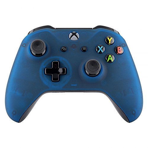 eXtremeRate Foggy Clear Blue Faceplate Cover, Soft Touch Front Housing Shell Case, Comfortable Soft Grip Replacement Kit for Xbox One S & Xbox One X Controller
