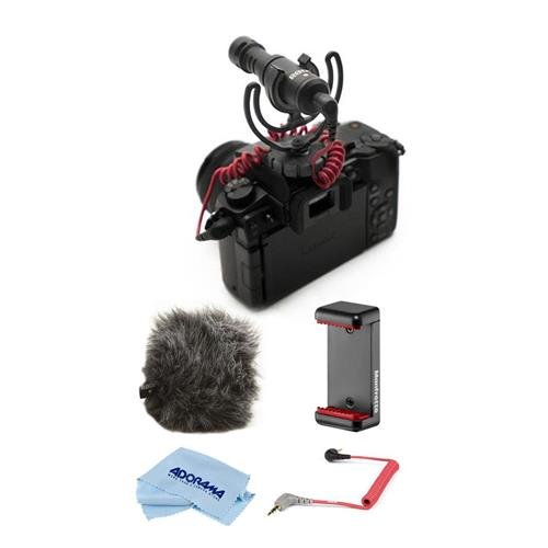 Rode Microphones VideoMicro Compact On-Camera Microphone SmartPhone Kit - Bundle With Rode WS9 Deluxe Windshield, Rode SC7 3.5mm TRS to TRRS Patch Cable, Manfrotto Universal Clamp Microfiber Cloth