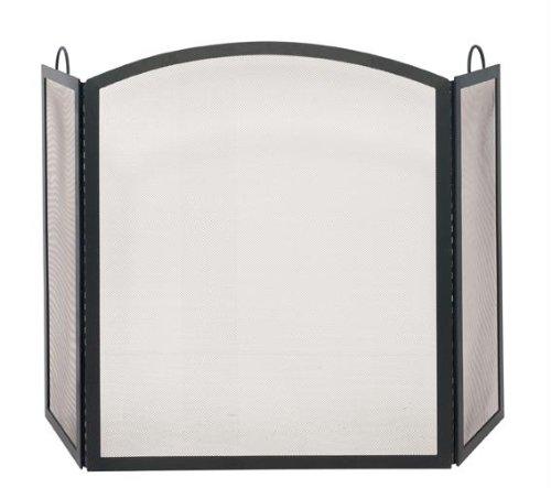 Uniflame S-1506 3 Fold Black Wrought Iron Arch Top Medium Screen ()