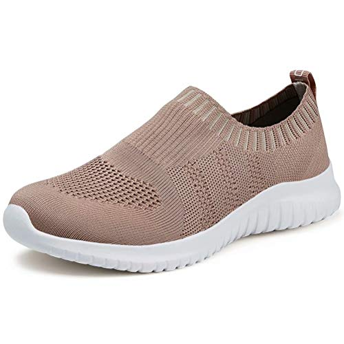 LANCROP Women's Lightweight Walking Shoes - Casual Breathable Mesh Slip On Sneakers 8.5 US, Label 39 Apricot