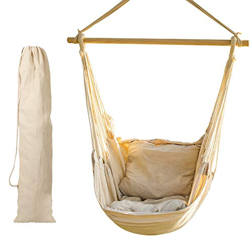CCTRO Hanging Rope Hammock Chair Swing Seat, Large Brazilian Hammock Net Chair Porch Chair for Yard, Bedroom, Patio, Porch, Indoor, Outdoor - 2 Seat Cushions Included with Carry Bag (Rope Seat Chair)