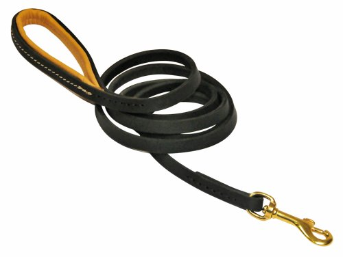 Dean & Tyler Soft Touch Leather Dog Leash with Brown Padded Handle and Solid Brass Snap Hook, 3-Feet by 1/2-Inch, Black by Dean & Tyler