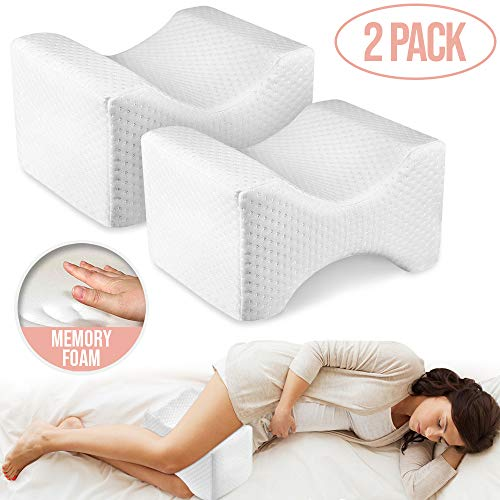Knee Pillow Leg Positioner - Made from Memory Foam - Removable and Washable Cover - Promotes Better Sleep, Improve Blood Circulation & Proper Posture Alignment (Memory Foam, 2 Pack) (Best Solution For Knee Pain)