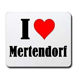 """No: meeres """"I Love Mertendorf"""" en colour blanco, una gran idea de regalo para tu pareja, compañeros de trabajo y muchas más! - Alfombrilla para ratón, mano incumpliéndose, antideslizante, gamer/juegos, Pad, Windows, Mac, IOS, cervezas, divertido, ordenador, portátil, notebook, PC, Tablet-PC, a la oficina."""