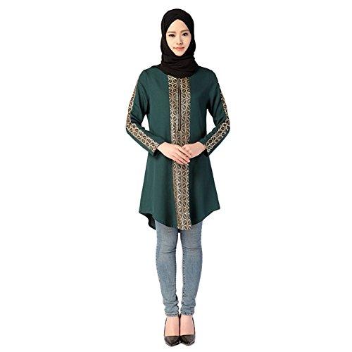 ELINKMALL Womens Muslim Long Sleeve Casual Tops Summer Shirts Casual Abaya Blouse