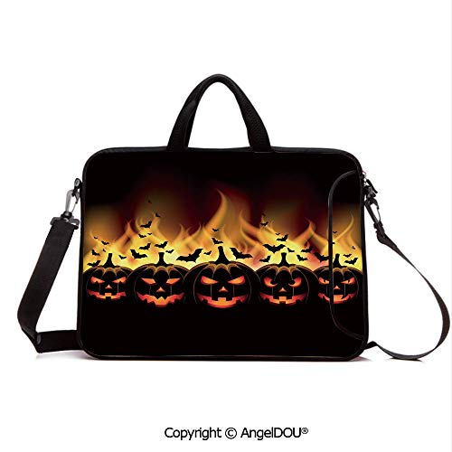 AngelDOU Neoprene Laptop Shoulder Bag Case Sleeve with Handle and Extra Pocket Happy Halloween Image with Jack o Lanterns on Fire with Bats Holiday Decorative Compatible with MacBook/Ultrabook/HP/Ac]()